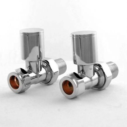 Ecostrad Apex Straight Radiator Valves - Chrome (Pair)