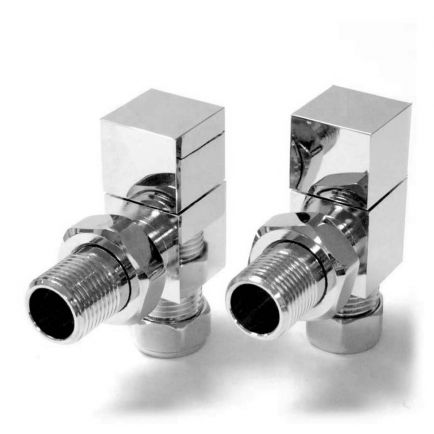 Ecostrad Bloc Angled Radiator Valves - Chrome (Pair)