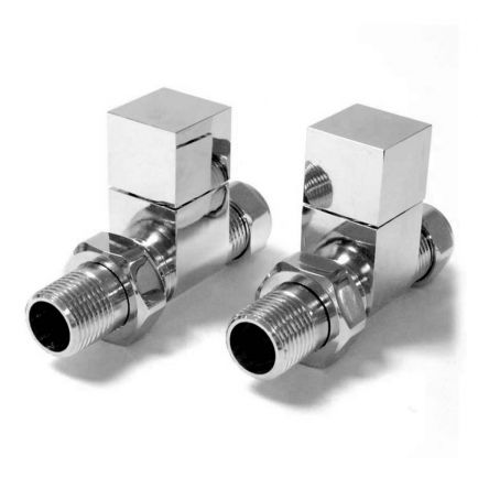 Ecostrad Bloc Straight Radiator Valves - Chrome (Pair)
