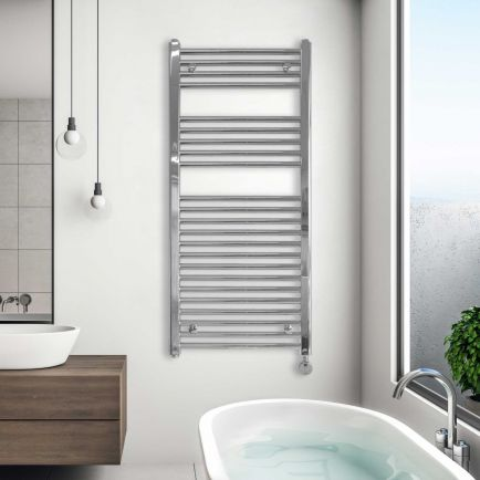 Ecostrad Fina-E Thermostatic Electric Towel Rail - Chrome 300w (500 x 1100mm)