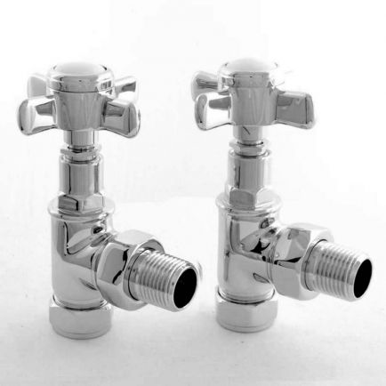 Ecostrad Westminster Angled Radiator Valves - Chrome (Pair)